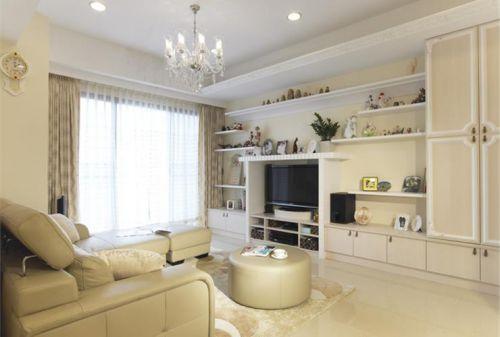 现代白色客厅分格式背景墙设计赏析