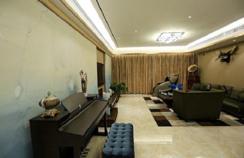 深色現代風格客廳設計圖片