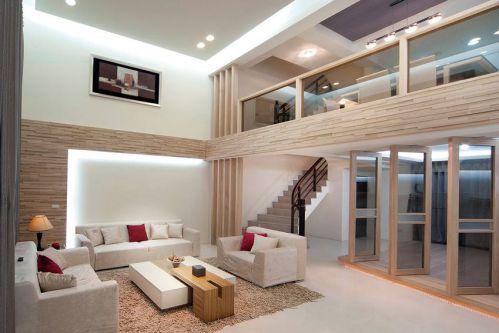 時尚現代原木色客廳裝修圖
