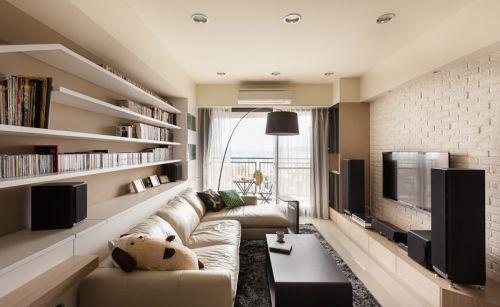 清爽時尚現代風格白色客廳裝修效果圖