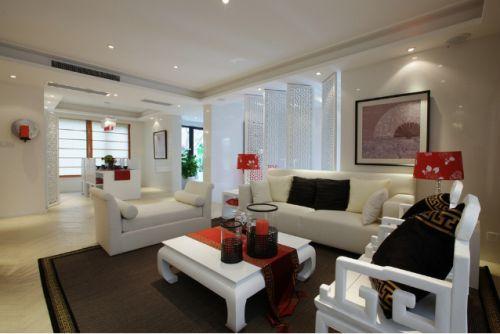现代白色客厅吊顶装修图