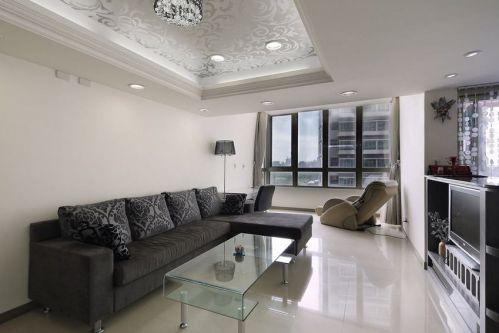 精致复古创意·灰色现代客厅效果图