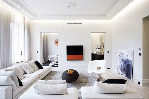 白色性冷淡极简现代客厅装修设计