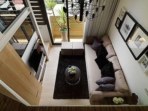 米色现代风格客厅俯视效果图