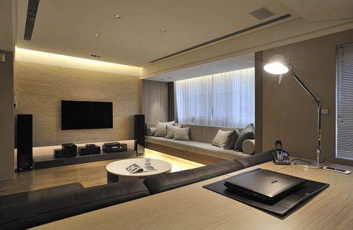 素雅米色现代风格客厅装潢装饰设计图片