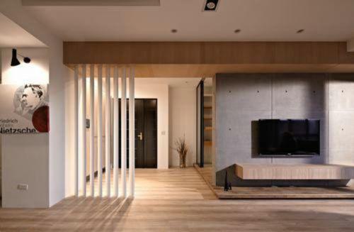 质朴素雅米色现代风格客厅装潢设计