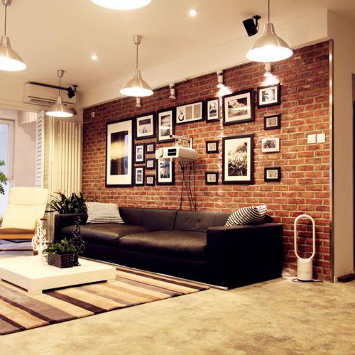现代复式室内客厅背景墙设计效果图欣赏