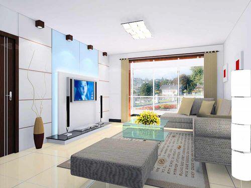 現代時尚簡潔客廳設計圖