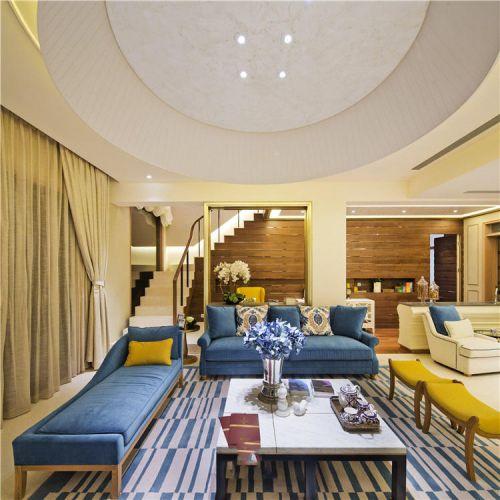 2018溫馨黃色現代風格客廳裝修案例