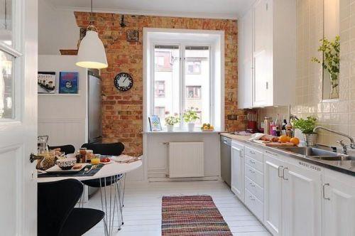 美式北欧厨房木地板效果图