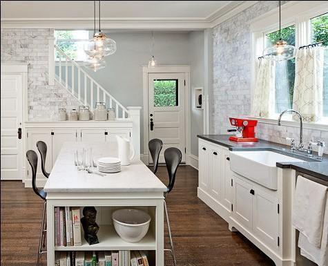 田园厨房白色家具设计图