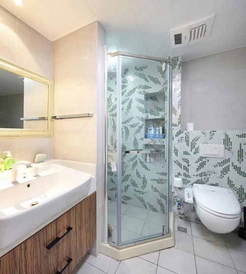 中式田园混搭复古卫生间装修图