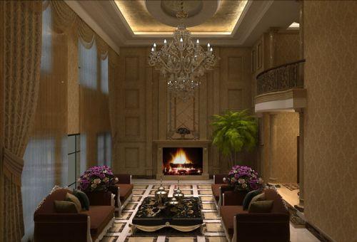 欧式古典欧式风格客厅吊顶窗帘设计案例