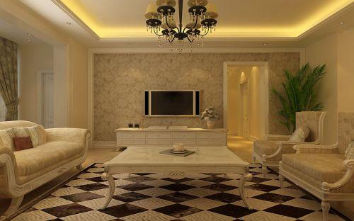 欧式客厅吊顶电视背景墙效果图