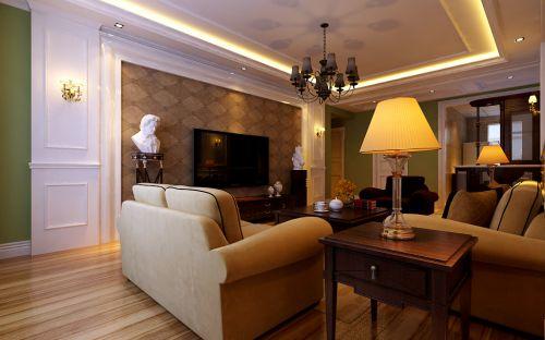 欧式客厅吊顶电视背景墙案例展示