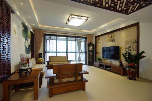 中式中式风格客厅吊顶电视背景墙设计图