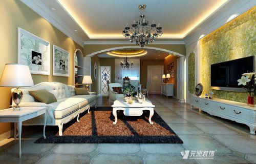 美式客厅吊顶电视背景墙设计案例展示