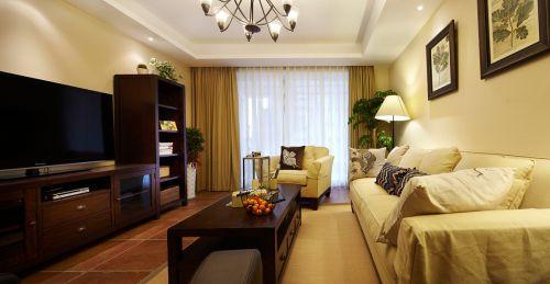 美式客厅窗帘电视柜设计案例