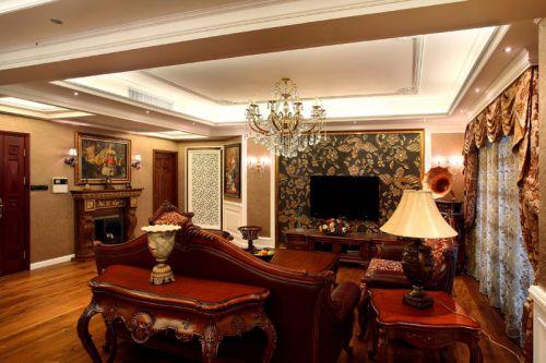 美式美式风格客厅吊顶电视背景墙设计案例展示