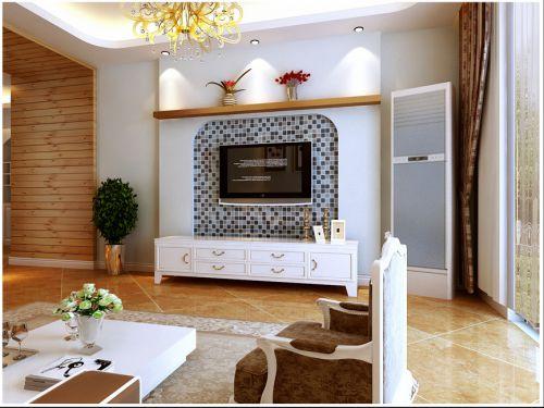 地中海混搭客厅电视柜电视背景墙装修案例