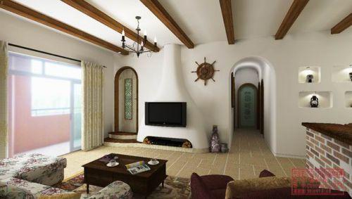 地中海地中海风格客厅电视背景墙装修图