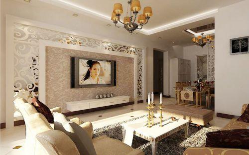 混搭客厅吊顶电视背景墙装修效果展示