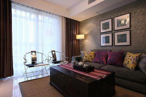 现代简约中式混搭客厅效果图