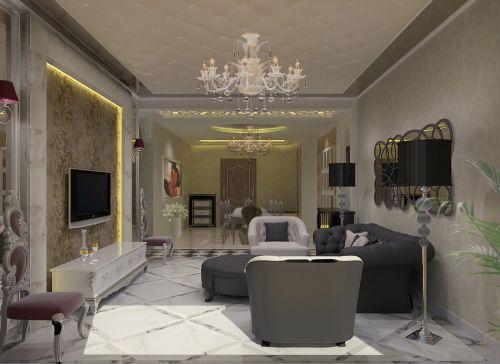新古典客厅吊顶电视背景墙设计方案