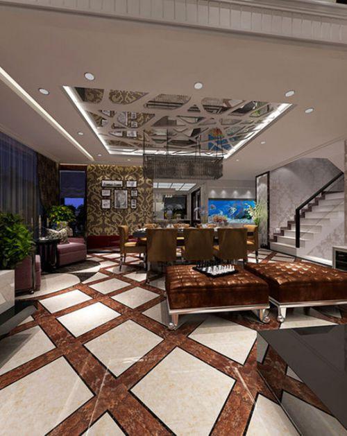 新古典古典新古典風格古典風格餐廳躍層吊頂裝修圖