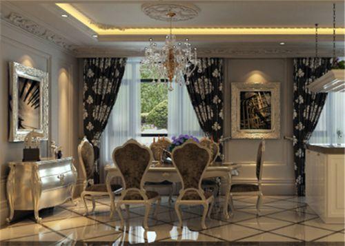 新古典古典新古典風格古典風格餐廳吊頂窗簾圖片