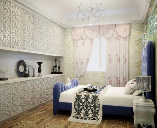 现代简约风格卧室吊顶窗帘设计案例展示