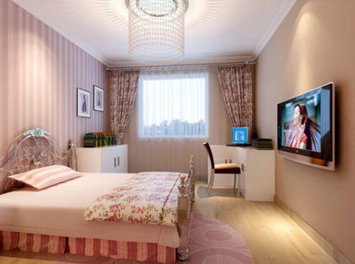 田园韩式卧室电视背景墙设计案例