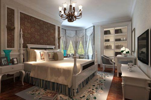 田园美式田园风格卧室吊顶窗帘设计案例