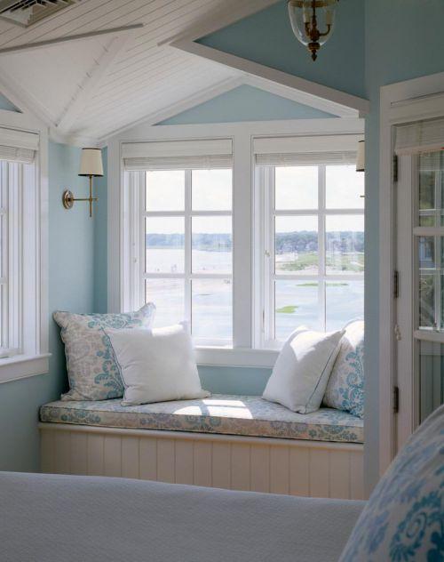 地中海北欧卧室飘窗&落地窗设计方案