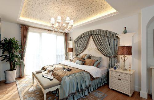 地中海地中海风格卧室别墅吊顶窗帘设计案例
