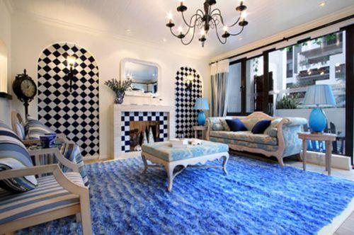 地中海客厅沙发茶几装修案例