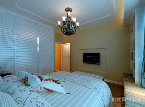 地中海卧室吊顶电视背景墙装修案例