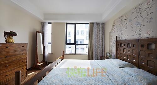 现代简约中式美式混搭卧室设计图