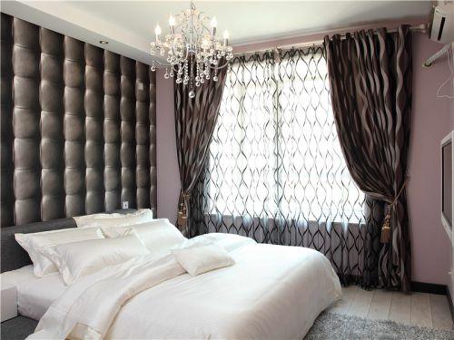 简欧卧室吊顶窗帘设计图