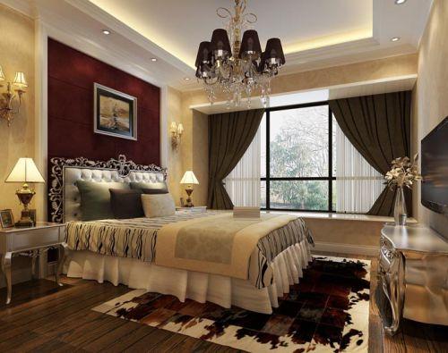 简欧卧室吊顶窗帘装修效果展示