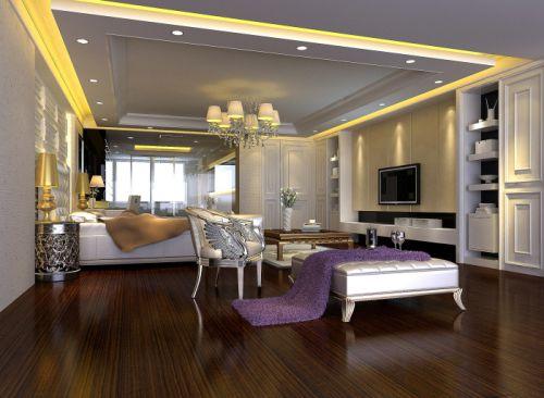 欧式简欧简欧风格卧室别墅吊顶电视背景墙设计案例