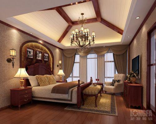 卧室别墅窗帘电视柜电视背景墙设计案例