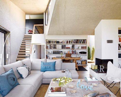 北欧客厅书房楼梯沙发书架效果图
