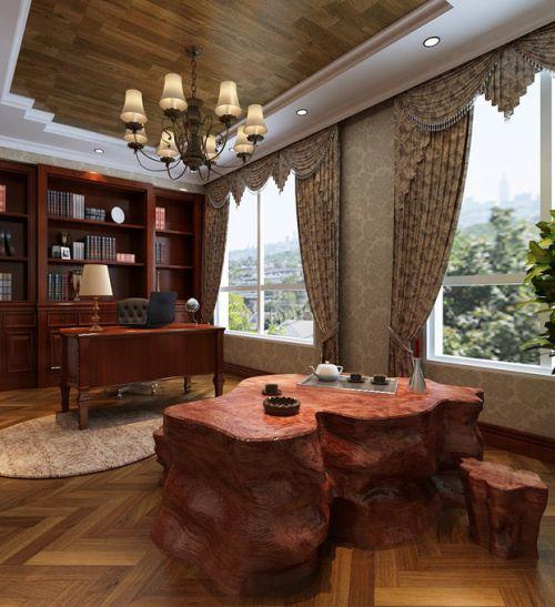 欧式书房吊顶窗帘案例展示