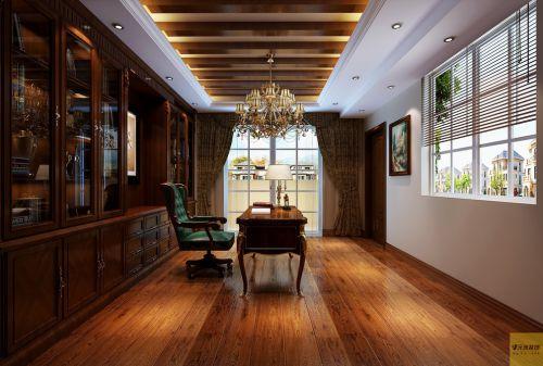 美式书房别墅吊顶窗帘装修案例