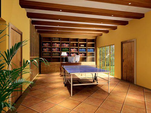 混搭书房别墅吊顶书柜设计案例展示