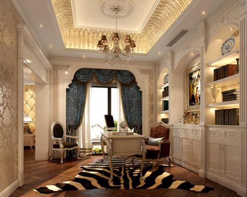 混搭混搭风格书房别墅吊顶窗帘设计图