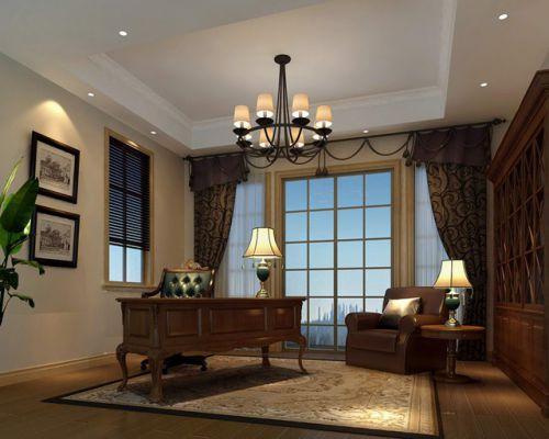 美式美式风格书房窗帘设计案例