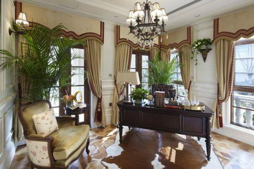 美式美式风格书房别墅窗帘装修案例