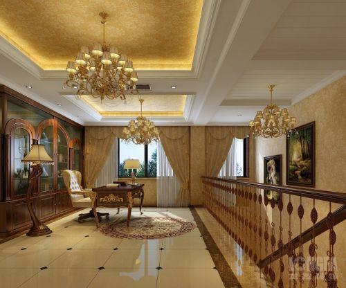 美式书房吊顶楼梯设计案例